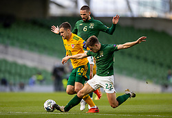 DUBLIN, REPUBLIC OF IRELAND - Sunday, October 11, 2020: Wales' captain Aaron Ramsey (C) is tackled by Republic of Ireland's Conor Hourihane (L) and Jayson Molumby (R) during the UEFA Nations League Group Stage League B Group 4 match between Republic of Ireland and Wales at the Aviva Stadium. The game ended in a 0-0 draw. (Pic by David Rawcliffe/Propaganda)