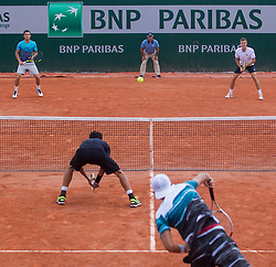 May 30, 2018 - Paris, Ile-de-France, France - Lukasz Kubot of Poland and Marcelo Melo of Brazil serves against Márton Fucsovics of Hungary and Marco Cecchinato of Italy during the second round at Roland Garros Grand Slam Tournament - Day 4 on May 30, 2018 in Paris, France. (Credit Image: © Robert Szaniszlo/NurPhoto via ZUMA Press)