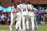 Wicket! Craig Miles of Warwickshire celebrates after taking the wicket of Will Fraine of Yorkshire during the Specsavers County Champ Div 1 match between Yorkshire County Cricket Club and Warwickshire County Cricket Club at York Cricket Club, York, United Kingdom on 17 June 2019.