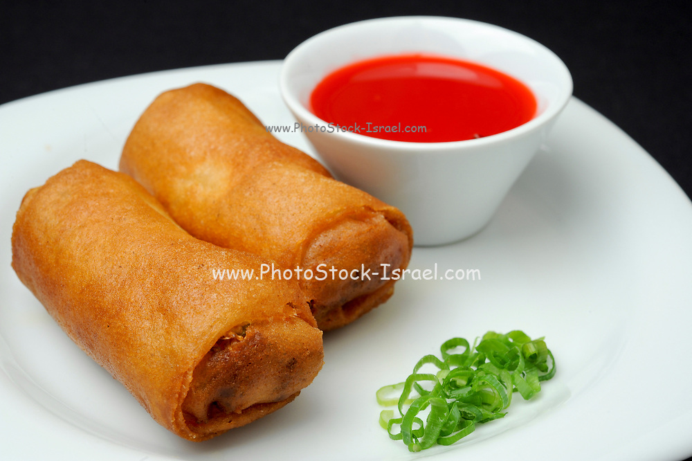 Chinese Egg rolls (or spring rolls) with sweet and sour sauce
