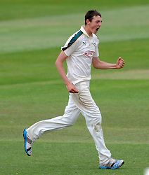Nottinghamshire's Matt Carter celebrates the wicket of Somerset's Peter Trego. - Photo mandatory by-line: Harry Trump/JMP - Mobile: 07966 386802 - 17/06/15 - SPORT - CRICKET - LVCC County Championship - Division One - Day Four - Somerset v Nottinghamshire - The County Ground, Taunton, England.