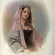 Machine colourised Berengaria of Navarre (c. 1165–1170 – 23 December 1230) was queen of England as the wife of Richard I (Richard Coeur de Lion, Lionheart) of England. She was the eldest daughter of Sancho VI of Navarre and Sancha of Castile. She did (unusually for the wife of a crusader) accompany her husband on the start of the Third Crusade, but mostly lived in his French possessions, where she gave generously to the church, despite difficulties in collecting the pension she was due from Richard's brother and successor John after she became a widow. From the book Heroines of the crusades by Bloss, Celestia Angenette, 1812-1855 Published by Auburn Alden, Beardsley, New York, 1853 Engraved by J.C. Buttre