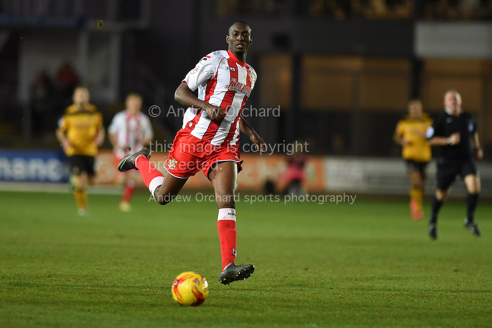 Bira Dembele of Stevenage in action. Skybet football league two match, Newport county v Stevenage at Rodney Parade in Newport, South Wales on Saturday 13th December 2014<br /> pic by Andrew Orchard, Andrew Orchard sports photography.
