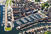 Nederland, Utrecht, Bunschoten-Spakenburg, 07-05-2018; centrum Spakenburg, voormalig vissersdorp. met haven en jachthaven.<br /> Spakenburg, former fishing village.<br /> <br /> luchtfoto (toeslag op standard tarieven);<br /> aerial photo (additional fee required);<br /> copyright foto/photo Siebe Swart
