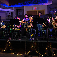 """The Thoreau High School jazz band performing their version of """"Jingle Bells"""" called """"Jazzy Bells"""" at Thoreau High School during their open mic night, Wednesday, Dec. 12 in Thoreau."""