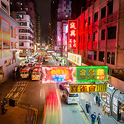Night scene in Kowloon, Hong Kong