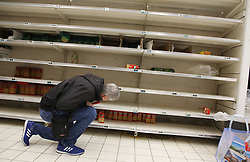 Atmosphere on Supermarket Store 'Carrefour' in Paris, France on March 14, 2020 during the COVID-19 outbreak caused by the novel coronavirus. Photo by Denis Guignebourg/ABACAPRESS.COM