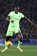 Yaya Toure of Manchester City in action. Capital one cup semi final 1st leg match, Everton v Manchester city at Goodison Park in Liverpool on Wednesday 6th January 2016.<br /> pic by Chris Stading, Andrew Orchard sports photography.