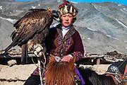 Portrait of a young Kazakh eagle huntress, Altai Mountains, Bayan Ulgii, Mongolia