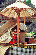 INDONESIA, BALI, CEREMONIES offerings for the gods under an umbrella during festival at the village temple