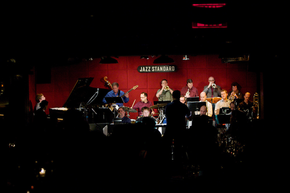 John Hollenbeck Large Ensemble performs at the Jazz Standard in Manhattan, Tuesday, March 1, 2011. The ensemble, led by the Grammy-nominated composer and drummer, center, is making its first tour. (Photo/Claudio Papapietro)