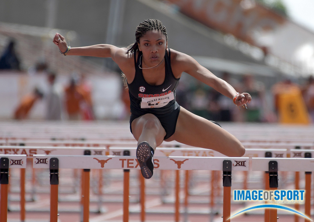 Mar 31, 2018; Austin, TX, USA; Tara Davis of Georgia wins the invitational women's 100m hurdles in a wind-aided 13.04 during the 91st Clyde Littlefield Texas Relays at Mike A. Myers Stadium.