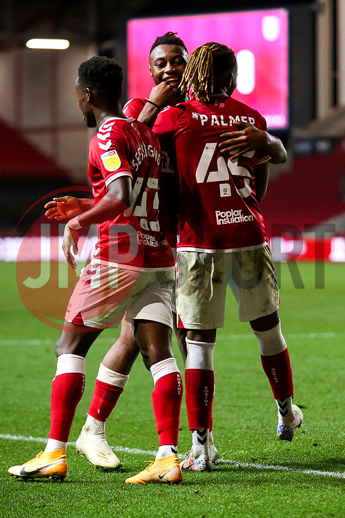 Kasey Palmer of Bristol City celebrates with Steven Sessegnon and Antoine Semenyo after scoring his 2nd goal of the night to make it 4-0 - Rogan/JMP - 16/09/2020 - Ashton Gate Stadium - Bristol, England - Bristol City v Northampton Town - Carabao Cup Second Round.
