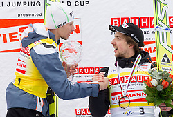 KRANJEC Robert (SLO), overall Skiflying Champion and AMMANN Simon( SUI), overall Third placed at  Skiflying classification celebrate at trophy ceremony after the Flying Hill Individual competition at 4th day of FIS Ski Jumping World Cup Finals Planica 2012, on March 18, 2012, Planica, Slovenia. (Photo by Vid Ponikvar / Sportida.com)