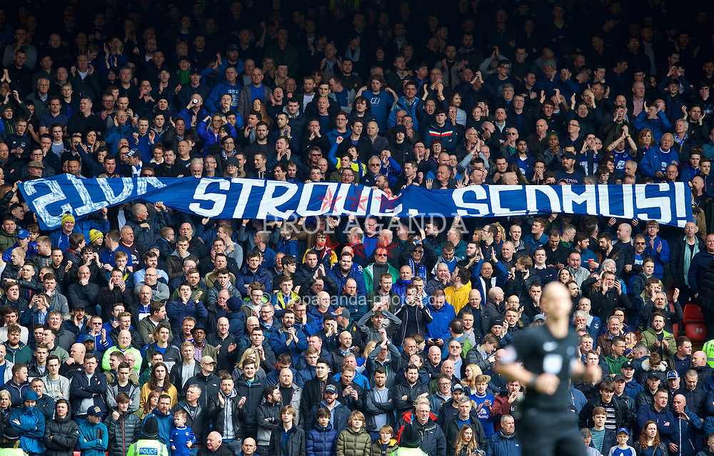 """LIVERPOOL, ENGLAND - Saturday, April 1, 2017: Everton supporters' banner """"Stay Strong, Seamus!"""" as a message of support to injured full-back Seamus Coleman during the FA Premier League match, the 228th Merseyside Derby, against Liverpool at Anfield. (Pic by David Rawcliffe/Propaganda)"""