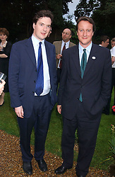 Left to right, GEORGE OSBORNE MP and DAVID CAMERON MP at the No Campaign's Summer Party - a celebration of the 'Non' and 'Nee' votes in the Europen referendum in France and The Netherlands held at The Peacock House, 8 Addison Road, London W14 on 5th July 2005.<br /><br />NON EXCLUSIVE - WORLD RIGHTS