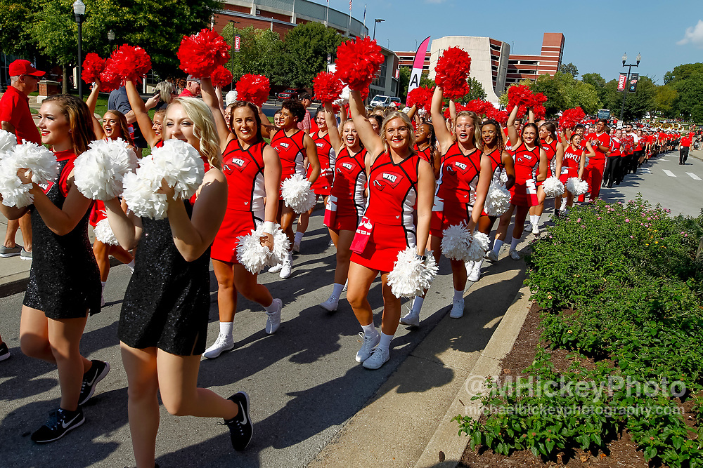 BOWLING GREEN, IN - SEPTEMBER 16: Western Kentucky Hilltoppers cheerleaders are seen before the game against the Louisiana Tech Bulldogs at Houchens-Smith Stadium on September 16, 2017 in Bowling Green, Kentucky. (Photo by Michael Hickey/Getty Images)