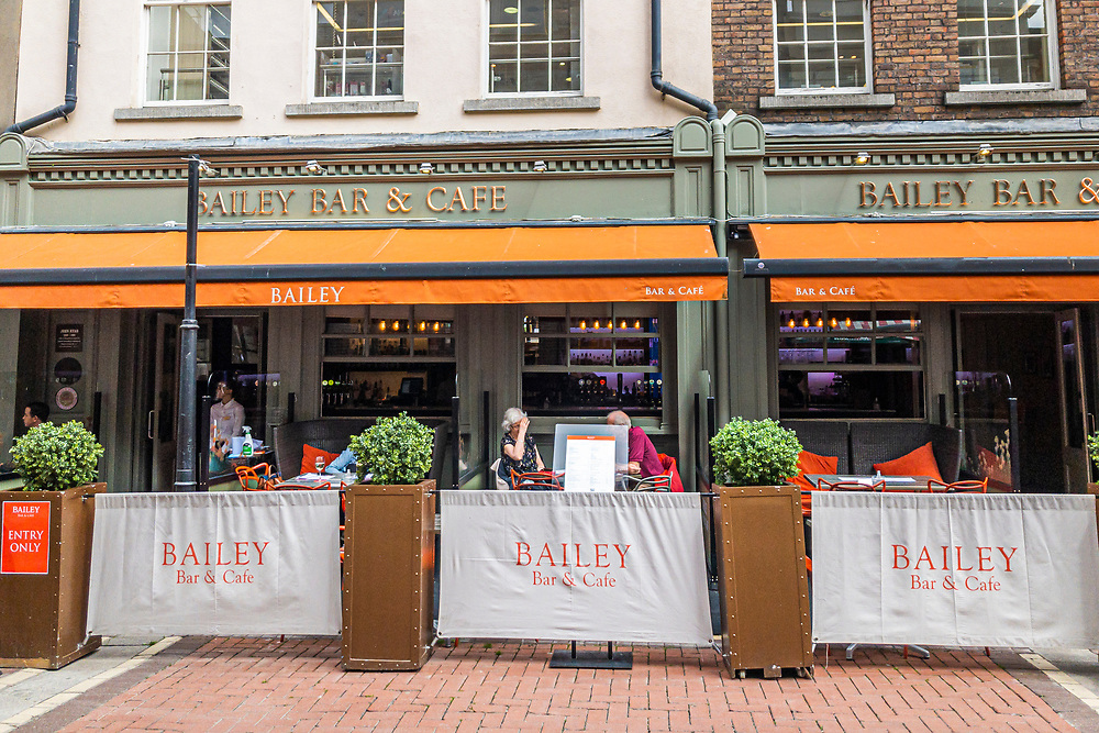 The Bailey Bar is now also a cafe with social distancing screens, on Duke Street, in Dublin 2, due to the Covid-19 pandemic.