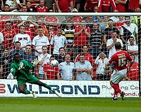 Photo: Ed Godden.<br />Nottingham Forest v Bradford City. Coca Cola League 1.<br />05/08/2006. Bradford keeper Donovan Ricketts, saves Neil Harris's second-half penalty.