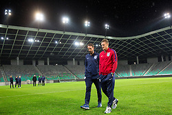 Jamie Vardy and Gareth Southgate, head coach during a tour of the stadium before an England press conference ahead of the football match between National teams of Slovenia and England in Round #3 of FIFA World Cup Russia 2018 Qualifier Group F, on October 10, 2016 in SRC Stozice, Ljubljana, Slovenia. Photo by Morgan Kristan / Sportida