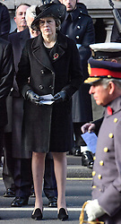 © Licensed to London News Pictures. 13/11/2016. London, UK.  British prime minster THERESA MAY attends a Remembrance Day Ceremony at the Cenotaph war memorial in London, United Kingdom, on November 13, 2016 . Thousands of people honour the war dead by gathering at the iconic memorial to lay wreaths and observe two minutes silence. Photo credit: Ben Cawthra/LNP