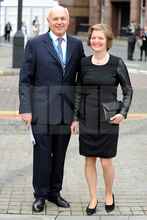 © Licensed to London News Pictures. 03/10/2011. MANCHESTER. UK. The Rt Hon Iain Duncan Smith MP, Secretary of State for Work and Pensions poses with his wife Elizabeth Freemantle before delivering a speech at The Conservative Party Conference at Manchester Central today, October 3, 2011. Photo credit:  Stephen Simpson/LNP
