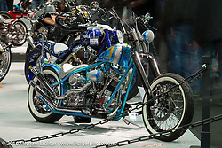 "George Stinsman's Chaos Cycle 78"" Harley-Davidson Shovster custom on display in the AMD World Championship of Custom Bike Building in the custom themed Hall 10 at theAMD World Championship of Custom Bike Building show in the custom dedicated Hall 10 at the Intermot Motorcycle Trade Fair. Cologne, Germany. Saturday October 8, 2016. Photography ©2016 Michael Lichter."