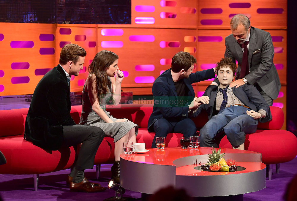 Host Graham Norton and Daniel Radcliffe with the life size model of the Harry Potter actor used in the film Swiss Army Man as Justin Timberlake and Anna Kendrick look on during filming of The Graham Norton Show at the London Studios in London, to be aired on BBC1 on Friday evening.