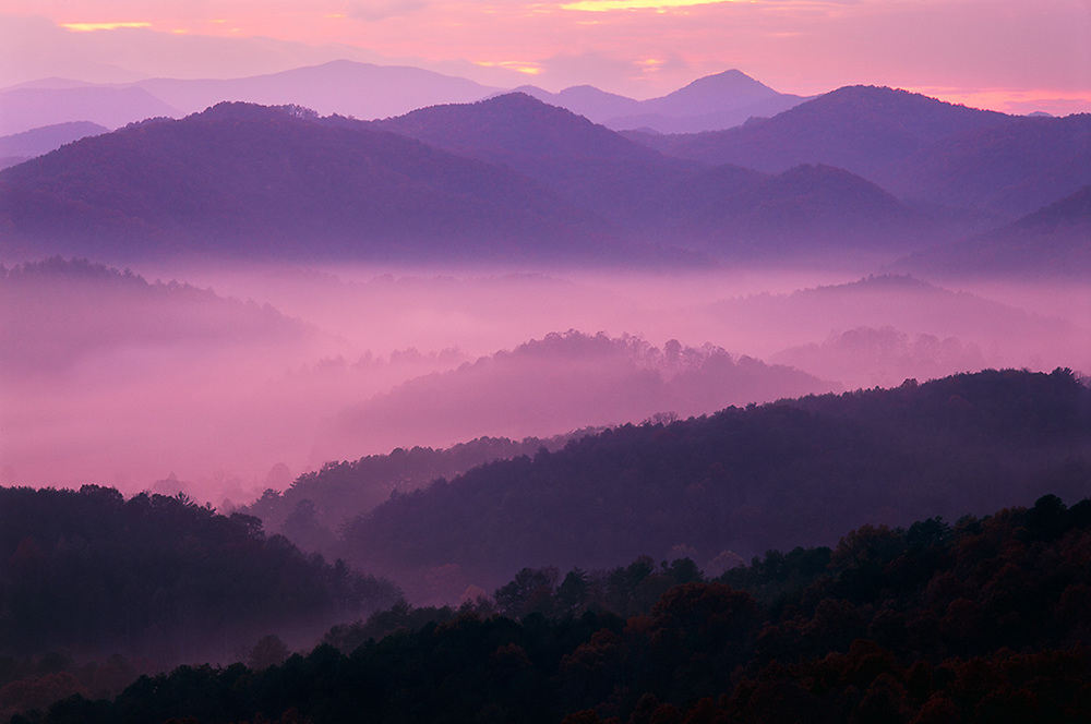 Morning light, telephoto view from the Foothills Parkway, Great Smoky Mountains National Park, Tennessee, USA