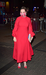 Olivia Colman arrives at the BFI Southbank, London, the UK filming hub for nominees at the 93rd Academy Awards. Picture date: Monday April 26, 2021.