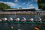 "Henley-on-Thames. United Kingdom.  2017 Henley Royal Regatta, Henley Reach, River Thames. <br /> Grand Challenge Cup. GER M8+. Passauer Ruderverein von 1874 and Ruderverein ""Treviris"" Trier von 1921 Germany. <br /> <br /> Bow J. WEISSENFELD, F. WIMBERGER, M. PLANER, T. JOHANNSEN, J. SCHNEIDER,M.JAKSCHIK, R SCHMIDT, H.OCIK and Martin SAUER.<br /> <br /> <br /> 15:36:03  Sunday  02/07/2017   <br /> <br /> [Mandatory Credit. Peter SPURRIER/Intersport Images."