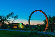 "The North Carolina Museum of Art at dusk in June of 2012, featuring one of Thomas Sayre's ""Gyre"" rings in the foreground.  ""Gyre"" is a copyrighted work of Thomas Sayre."
