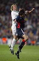 29/2/2004 Madrid, Spain.<br />La Liga (Spanish League) 26 day.<br />R.Madrid 4 - Celta 2<br />R.Madrid's Guti in duel with Celta's Edu at Santiago Bernabeu's Stadium.