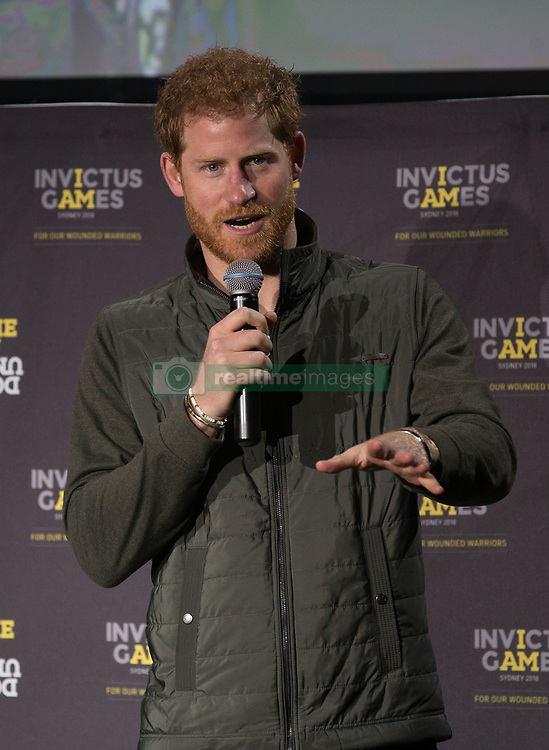Prince Harry speaks during an event on Circular Quay in Sydney, Australia, during a day of engagements to mark the official launch of the Invictus Games Sydney 2018.