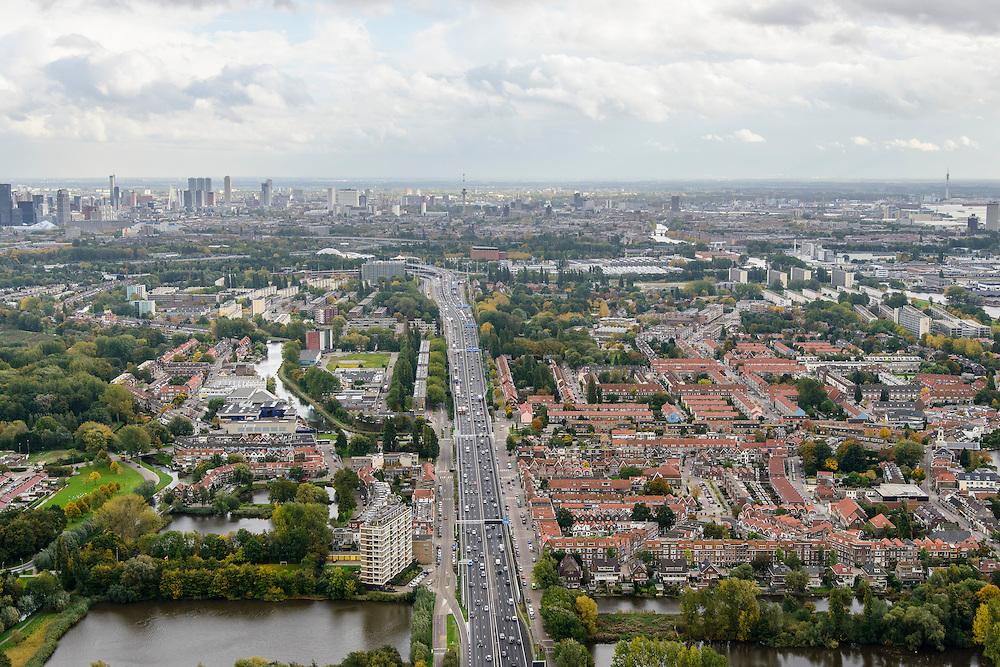 Nederland, Zuid-Holland, Rotterdam, 23-10-2013; Overschie met de A13. De autsnelweg zorgt voor ernstige overlast voor omwonenden.<br /> Overschie with motorway A13. The highway creates significant inconvenience to local residents.<br /> luchtfoto (toeslag op standaard tarieven);<br /> aerial photo (additional fee required);<br /> copyright foto/photo Siebe Swart.