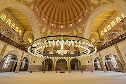 Ornate interior of Al Fateh Grand Mosque in Kingdom of Bahrain