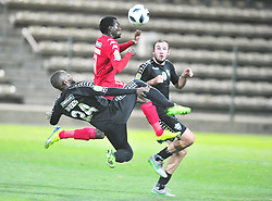 Cape Town 180214  Stellenbosch FC defender Gert Barends  challenges Charlon mashumba    of Highlands PARK at Athlone Stadium in the nedbank Challenge . Picture:Phando Jikelo/African News Agency(ANA)