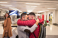 After months apart, Omar (right) and Nader (left) are reunited in Bergen, Norway. Nader proposed to Omar at his birthday party, shortly before being resettled to Norway, at which point it was uncertain as to whether or not Omar would be resettled to Norway, or at all.