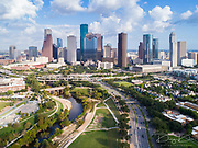 Aerial view of skyline downtown Houston building city, at buffalo bayou park, Houston, Texas, USA