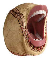 teeth 010 Screaming baseball with teeth, lips, mouth