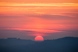 © Licensed to London News Pictures. 21/04/2015. Bristol, Avon, UK. Sunrise over countryside near Bristol this morning, 21st April 2015. The south west of England is set for more warm temperatures and plenty of sunshine today. Photo credit : Rob Arnold/LNP