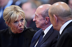 Brigitte Macron near french ministers Gerard Collomb and Jean-Yves Le Drian stand as France's President Emmanuel Macron is inducted as honorary canon of The Basilica of St.John's in Rome,Italy the Pope's cathedral in his capacity as bishop of the Italian capital on June 26, 2018. The french head of state has traditionally been given the title since French kings made large donations to support the cathedral in the 15th century. Photo by Eric Vandeville/ABACAPRESS.COM