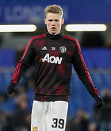 Manchester United Midfielder Scott McTominay warm up during the The FA Cup 5th round match between Chelsea and Manchester United at Stamford Bridge, London, England on 18 February 2019.