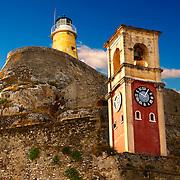 Clock tower of The old citadel [ ?????? ??????? ] Corfu City, Greek Ionian Islands