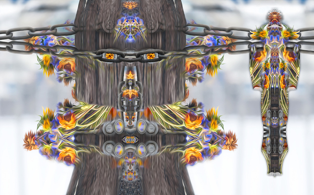 """""""Flower Child Peacekeeper 1"""", derivative image created from a photo of a marine piling and discarded flower bouquet, overcast light, September, Port Townsend Marina, Washington, USA"""