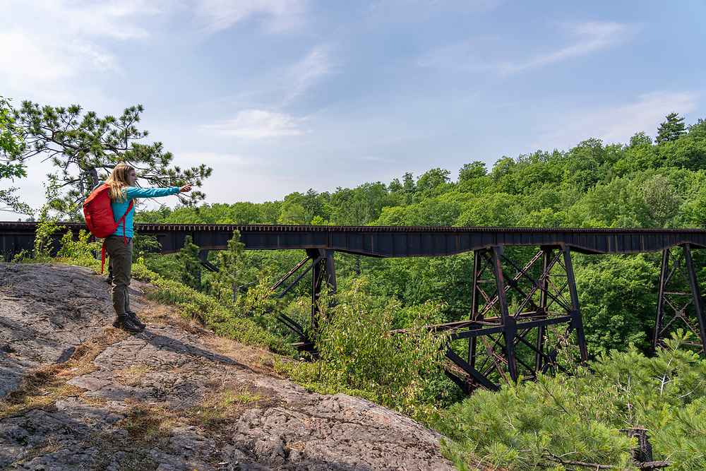 Hiking, birdwatching and enjoying nature in the Upper Peninsula Land Conservancy's Dead River Community Forest Preserve in Marquette, Michigan.