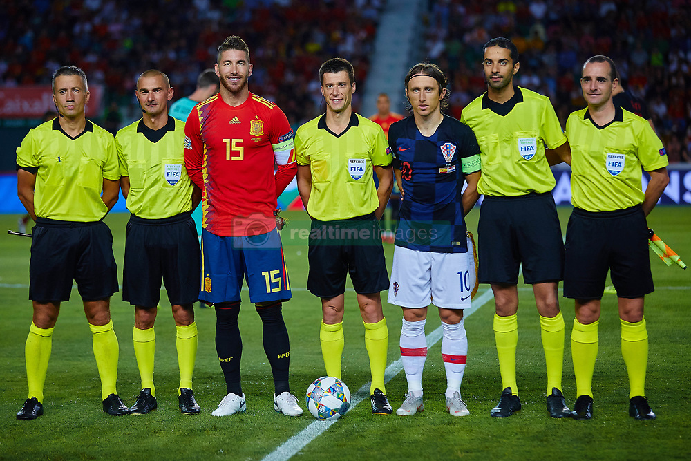 September 11, 2018 - Elche, Alicante, Spain - Sergio Ramos of Spain  and Luka Modric of Croatia with the referees during the UEFA Nations League football match between Spain and Croatia at Martinez Valero Stadium in Elche on September 11, 2018  (Credit Image: © Sergio Lopez/NurPhoto/ZUMA Press)
