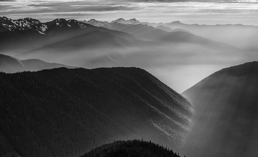 Lillian River Valley, August haze, evening light, telephoto view from the Obstruction Point area, Olympic National Park, Washington, USA