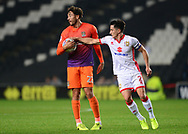 George Williams of MK Dons claims the ball from Matt Crooks of Northampton Town .EFL Skybet football league one match, MK Dons v Northampton Town at the Stadium MK in Milton Keynes on Tuesday 26th September 2017.<br /> pic by Bradley Collyer, Andrew Orchard sports photography.