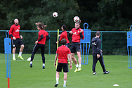 Gareth Bale of Wales © heads the ball during the Wales football team training at the Vale Resort in Hensol, near Cardiff , South Wales on Tuesday 29th August 2017.  the team are preparing for their FIFA World Cup qualifier home to Austria this weekend.  pic by Andrew Orchard, Andrew Orchard sports photography